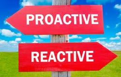 Proactif et réactif Images stock
