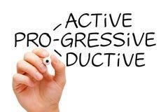 Proactive Progressive Productive. Hand writing Proactive Progressive Productive with black marker on transparent wipe board Stock Image