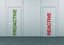 Proactive or reactive, concept of choice. Closed doors with printed marks as concept of decision making, options, strategy and dilemmas Stock Photo