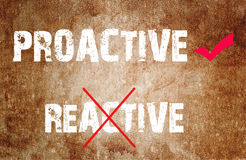 Proactive and Reactive concept text Royalty Free Stock Photo