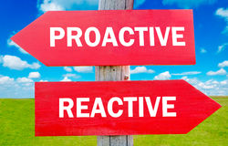 Proactive and reactive. Way choice showing strategy change or dilemmas Stock Images
