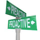 Proactive Vs Reactive Two Way Road Signs Choose Action Stock Photos