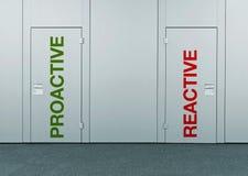 Proaktivt eller återverkande, begrepp av valet Arkivfoto