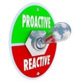 Proaktivt Vs den återverkande vippströmbrytaren avgör tar laddningen Royaltyfria Foton