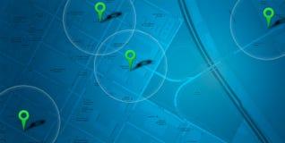 Probabilidade de intercepção azul do mapa Fotografia de Stock