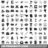 100 probability icons set, simple style. 100 probability icons set in simple style for any design vector illustration stock illustration