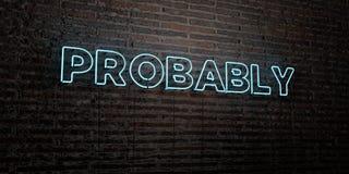 PROBABILMENTE - insegna al neon realistica sul fondo del muro di mattoni - 3D ha reso l'immagine di riserva libera della sovranit illustrazione di stock