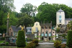 Looking out from courtyard in Portmeirion, North Wales Royalty Free Stock Image