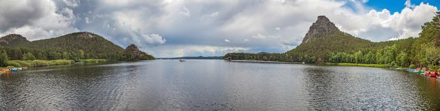 Panorama of Lake Borovoe in Kazakhstan. Probably, you can not talk about Kazakhstan and do not mention the resort pearl - Lake Borovoe Royalty Free Stock Image