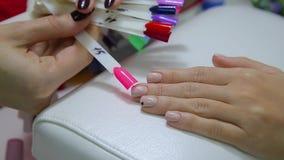 Probadores del esmalte de uñas almacen de video