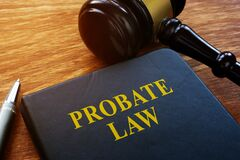Probate Law book and wooden gavel.