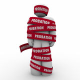 Probation Man Wrapped in Tape Restricted Limited Movement Stock Photo
