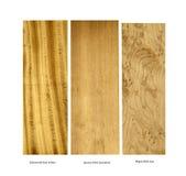 Probe des Satinholz-, Fichten- und Ahornholzes lizenzfreie stockbilder