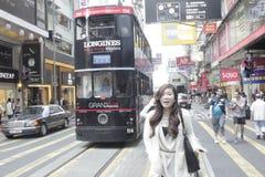 Probeer het, de verbazende tram van Hong Kong! stock fotografie