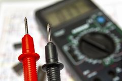 Probes close-up instrument for measuring voltage, current, resistance.  royalty free stock image