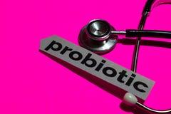 Probiótico en el papel de la impresión con el concepto de seguro de enfermedad fotos de archivo libres de regalías