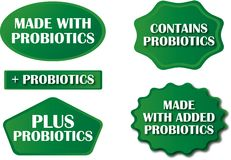 Probiotic Tags. Various bursts/tags promoting probiotics for packaging, websites, sales sheets and advertising Stock Photo