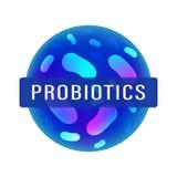 Probiotics细菌商标 免疫刺激与乳酸杆菌属前生命期的细菌的医学象 r 库存例证
