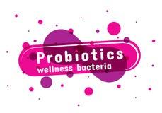 Probiotics bakterielogo vektor illustrationer