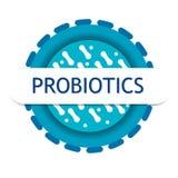 Probiotics-Bakterien-Vektorausweis stock abbildung