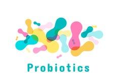 Probiotics-Bakterienlogo stock abbildung