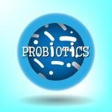 Probiotics bakterii wektoru odznaka ilustracji