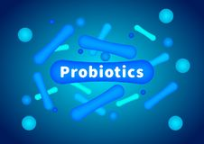 Probiotics are bifidobacteria. Intestinal flora. Enteric bacteria. vector illustration