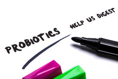 Probiotics help us digest. Handwritten on paper Royalty Free Stock Image
