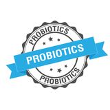 Probiotics stamp illustration Stock Photos