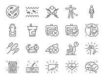 Probiotics symbolsuppsättning Inklusive symboler som inälvs- flora, inälvs-, bakterier, sunt, yoghurt, inälva och mer royaltyfri illustrationer