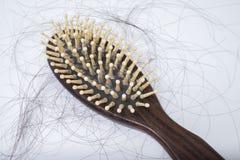 Problème de perte des cheveux sur le bruch, sur le fond blanc Photographie stock