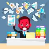 Problème de visage rouge d'homme d'affaires, papiers de jet illustration stock
