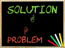Problème et à la différence de signe contre la solution et comme le signe Photographie stock