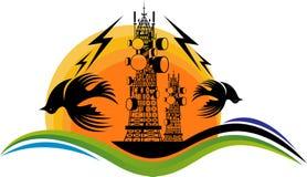 Problèmes avec le rayonnement de la tour mobile avec des effets de l'irradiation élevés illustration libre de droits