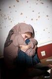 Problèmes d'adolescent. Solitude, violence, dépression image stock