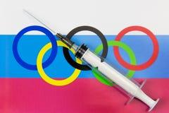 Problèmes dans le sport russe dû au dopage images stock
