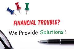 Problèmes financiers ? nous fournissons des solutions ! Photographie stock libre de droits