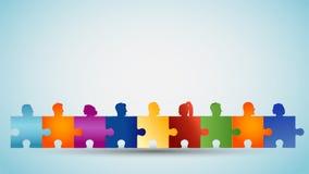 Probleem het oplossen Conceptengroepswerk of gemeenschap De groep kleurrijk silhouet leidt mensen vormt raadselstukken samenwerki stock illustratie