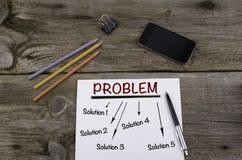 Probleem het oplossen de kaart van de hulpmening op een blad van document Stock Foto