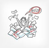 Probleem met de vectorillustratie die van het rekeningenconcept voor de hulpmens schreeuwen vector illustratie