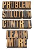 Probleem, oplossing, controle in houten type Royalty-vrije Stock Foto's