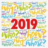 probleem 2019 vraagt de collage van de woordwolk royalty-vrije illustratie