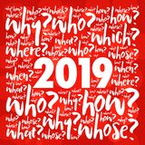 probleem 2019 vraagt de collage van de woordwolk vector illustratie