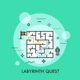 Probleemoplossing en besluit die - concept, succesvolle bedrijfsstrategie, het pictogram van de labyrintzoektocht maken royalty-vrije illustratie