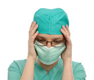 Doctor unhappy problem mask portrait Stock Images