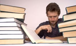 Problem. An image of man with books Royalty Free Stock Photography