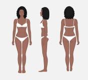 Problem_African αμερικανικοί μπροστινοί πίσω και πλευρά VI γυναικών ανθρώπινου σώματος Στοκ Φωτογραφία
