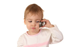 Problem baby with phone. On white Royalty Free Stock Images