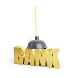 Problem banks, cleaning bank plunger Royalty Free Stock Photo