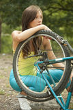 Problem with a bike Stock Photography